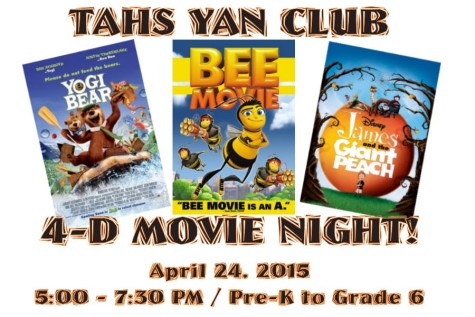 """YAN to host free family """"4-D Movie Night"""" on Friday, April 24"""