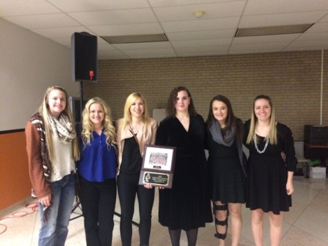 Alexis Cannistraci, Madison Noll, Marissa Sprankle, Amber Gill, Finnley Christine, and Kasy Engle receive their Mountain League Championship Award at the Mountian League Winter Sports Banquet at TAHS