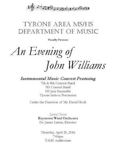 Tyrone Band Spring Concert Tonight at 7:00 pm