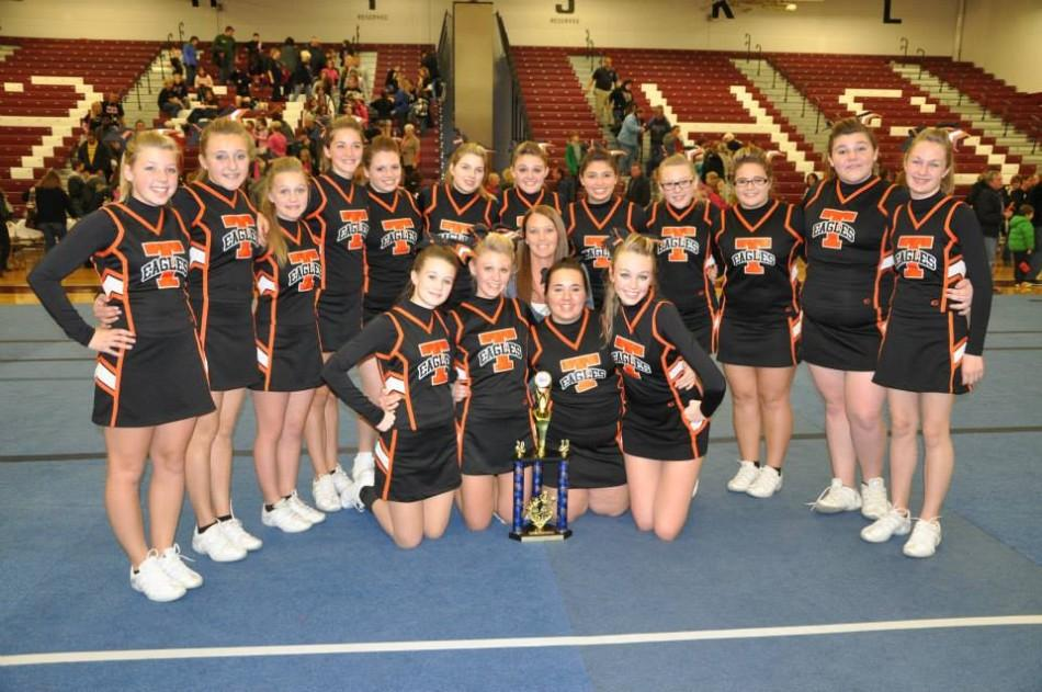 The TAHS Varsity Cheerleaders after the competition in Altoona.