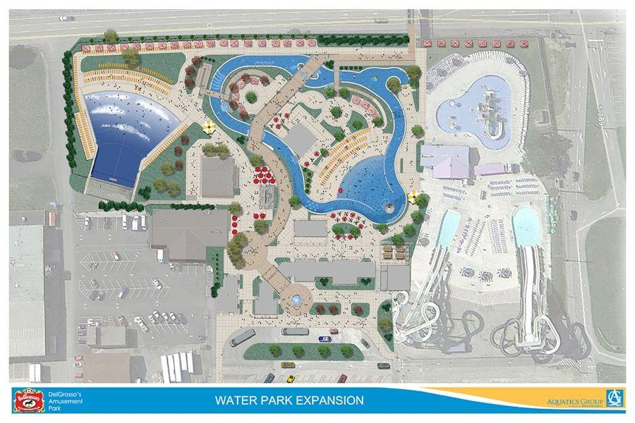 This map shows how the new expansion will be integrated into the existing water park.