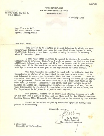 Letter from the War Department confirming PFC Walk's MIA status. (Courtesy of Connie Shaffer)