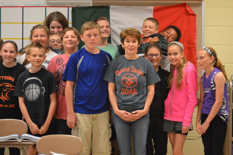 Mrs. Conrad and students from her last sixth grade class.
