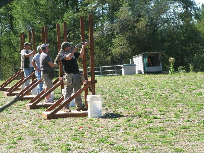 A group of shooters takes their aim at clays at the 5-Stand event.  For the first time shooters could also try their skills at the Wobble Stand which was just added this summer.