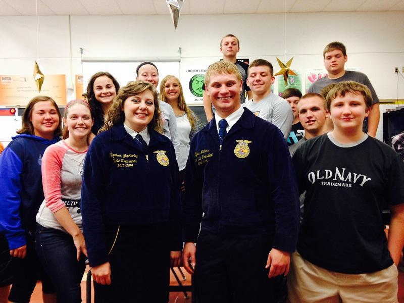 State FFA officers Beth Winklosky and Tyler Watkin and Mrs. Hoy's freshman Ag class