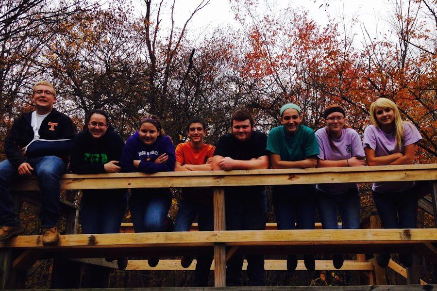 The team overlooking the Beaver Dam at Albemarle Nature Trail.
