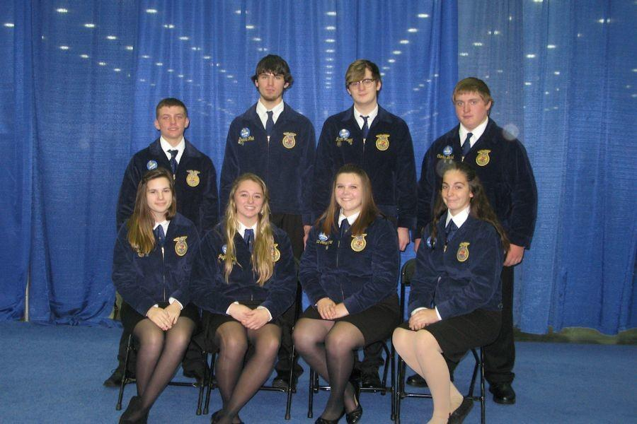 Tyrone Area FFA members who attended the 88th National FFA Convention October 27-31, 2015  - sitting lt. to rt. – Alexis Brode, Jaylon Beck, Grace Gensimore, Sierra Robison; standing lt. to rt. – Noah Irvin, Dakota Fink, Jacob Meyer, Charles Beard