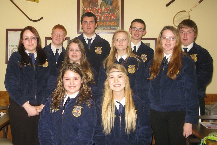 Standing left to right – Katrina Hagenbuch, Noah Schratzmeire (Bellwood), Abie Boutiller (Bellwood), Tom Whiteford (Bellwood), Maddie Veit, Brandon Decker, Elizabeth Conrad, and Charles Beard.  Sitting left to right – Baylee DelBaggio and Mariah Simondale. Missing from photo – Michael Cherry