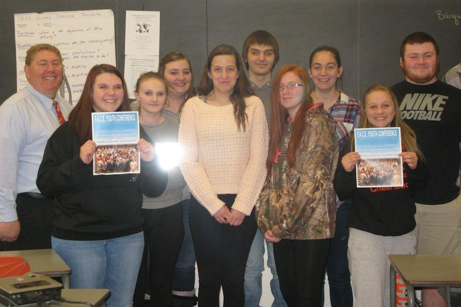 Joe Diamond from the PA Farm Bureau pictured with Tyrone Area Agricultural Animal Science students after showcasing the impact Farm Bureau has on our community.  He also invited the students to apply and attend the F.A.C.E conference in June.