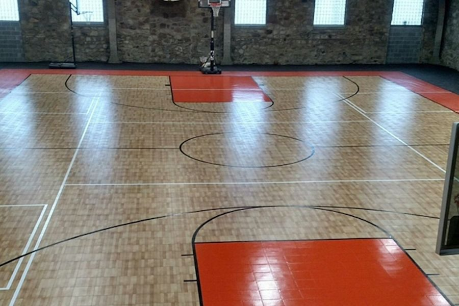 The new basketball court has been installed.