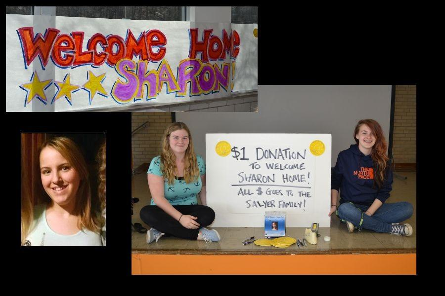 Tyrone sophomores Katelyn Richards and Jamie Lynch accept $1 donations for the Sayler family during A lunch at TAHS.  Inset photos: bottom: Sharon Salyer; top: Students also made a banner to welcome Sharon back to school.