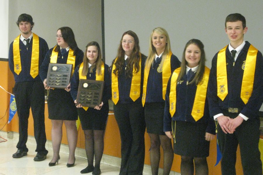 Dakota Fink, Katrina Hagenbuch, Alexis Brode, Elizabeth Conrad, Carly Crofcheck, Baylee DelBaggio and Brandon Decker presented their FFA graduation sashes as the Seniors who will be taking the Production Agriculture NOCTI in late April.  They are considered to be completers or concentrators in the Ag Program over the past four years.