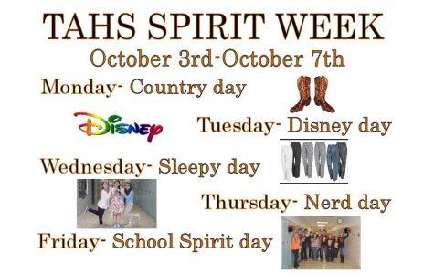 October 3-7 is School Spirit Week