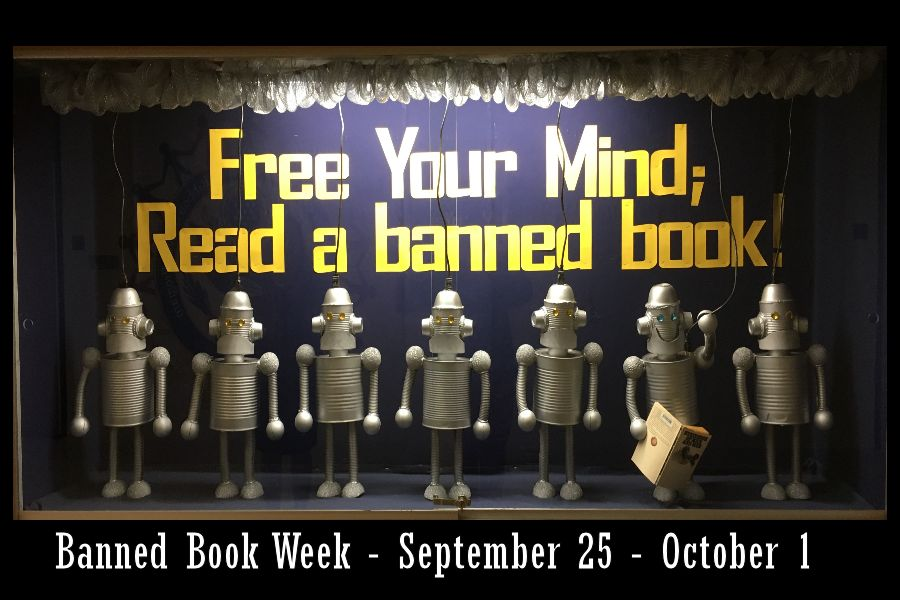 Ms. McLarren's Banned Book Week Library display