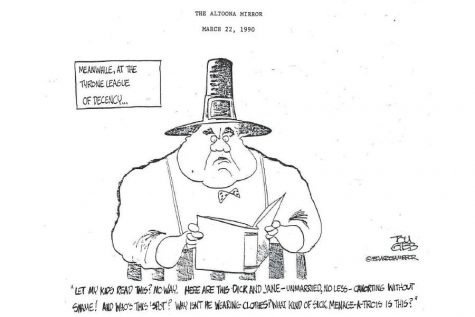 This cartoon about the Tyrone censorship issue appeared in the Altoona Mirror in 1990