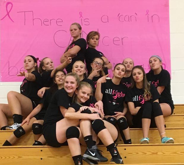 Girls pose for their pink night
