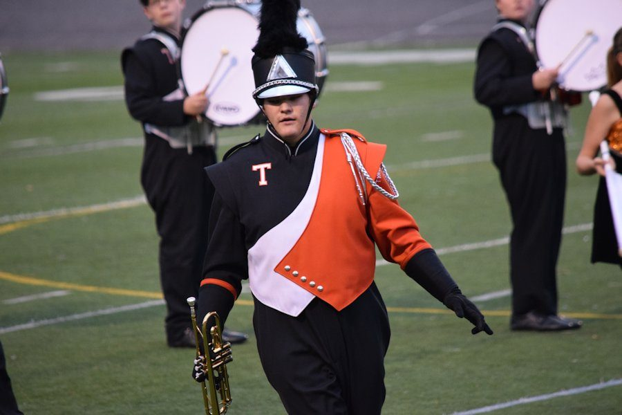Junior Derek Wilson performs with the Tyrone Golden Eagle Marching Band