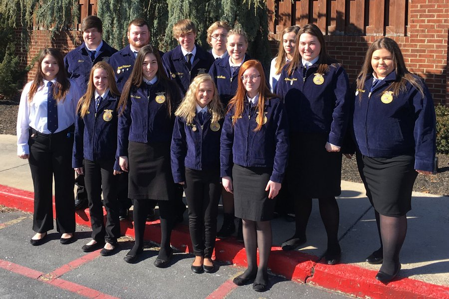 Back row left to right: Donnie Lingenfelter, Daniel Peterson, Zach Patterson, Hunter Reese, Lexi Kagarise, Kaylee Updike, MaKenna LaRosa, and Jacey Whitcomb Front row left to right: Megan Markel, Haley Miller, Sierra Robsion, Chloe Case, and Skyler Thompson