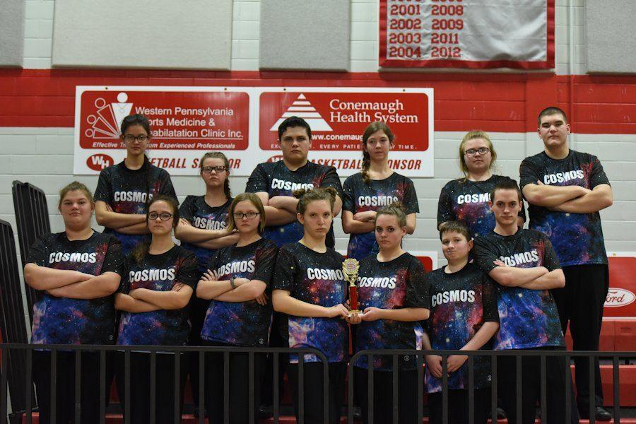 The indoor percussion group celebrating a first place finish  at Westmont Hilltop