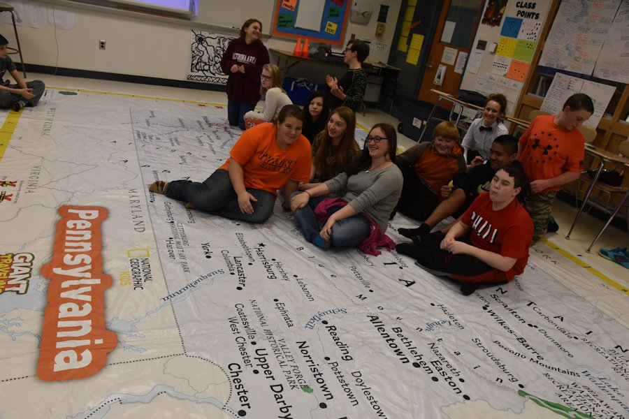 Going Big: Geography Cl Uses Giant Map of PA – Tyrone ... on map of new paris pa, map of loganville pa, map of shamokin dam pa, map of upper st clair pa, map of throop pa, map of narberth pa, map of berkshire pa, map of wilburton pa, map of lawrence park pa, map of newry pa, map of point marion pa, map of saint marys pa, map of mahaffey pa, map of schellsburg pa, map of mount union pa, map of armagh pa, map of russellton pa, map of madison pa, map of norwood pa, map of spring mills pa,