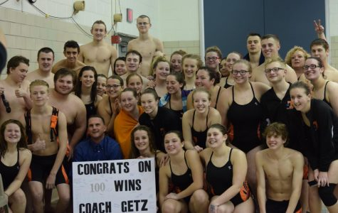 Getz  Earns 100th Career Win as Swim Team Snags a Double Win