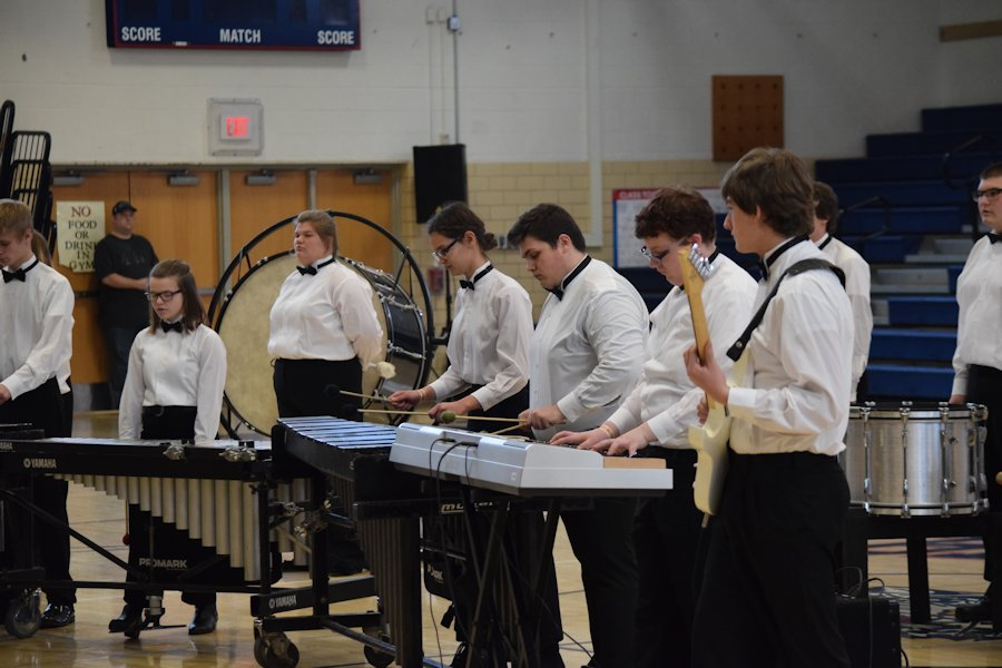 The indoor percussion ensemble performing their show