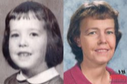 Kathy Shea as a child and a forensic artist's age progression portrait of her as an adult