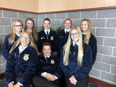 1049 – Tyrone Area FFA members represented at the PA FFA Association Fall Leadership Conference: Back row lt. to rt. – Makayla Sprankle, Taylor Walters, Garin Hoy, Shyann Kephart, and Kaila Moon; front row lt. to rt. – Karly Diebold, Guy Williams and Haylee Blowers