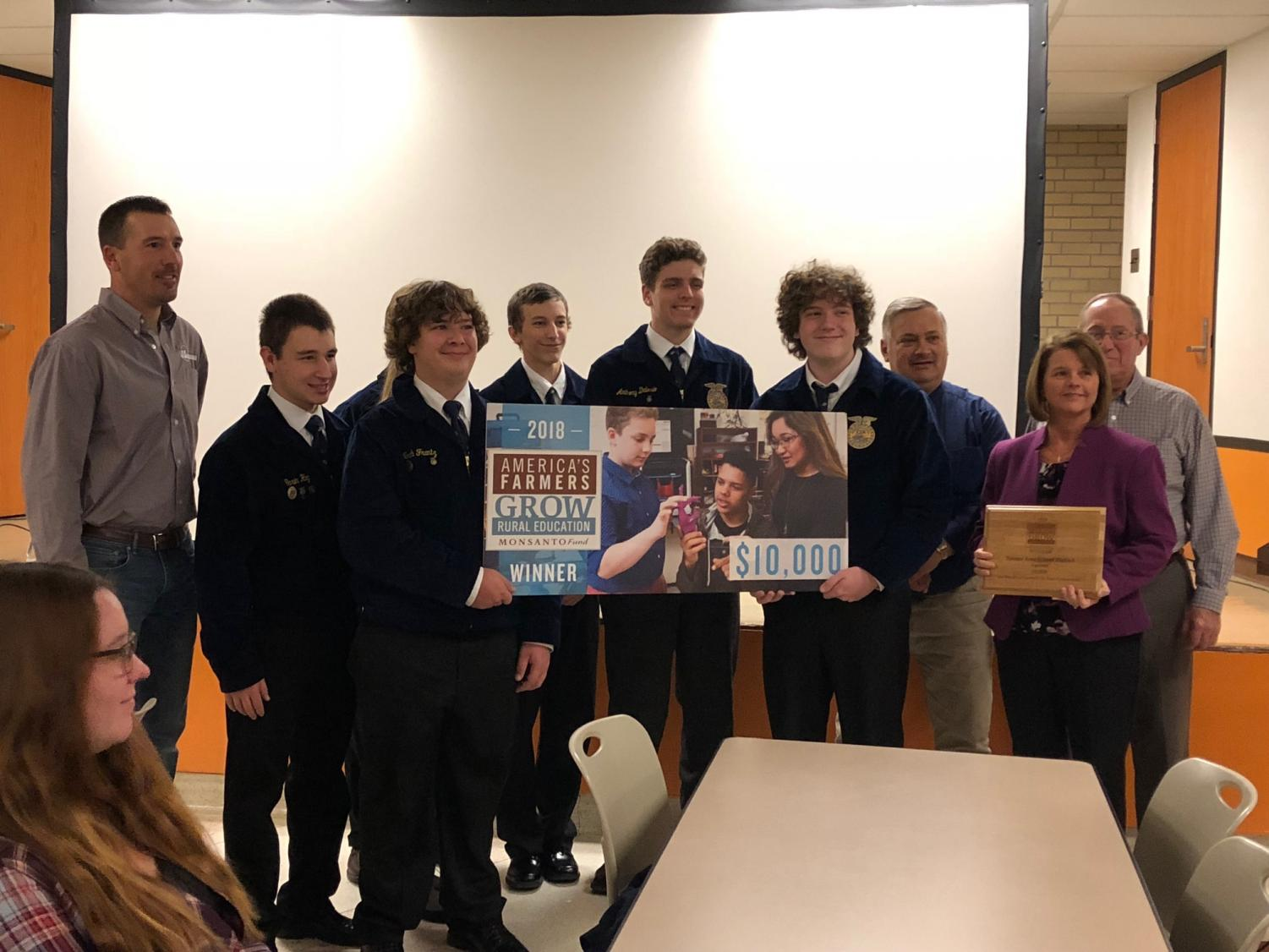 The FFA students were presented with a $10,000 grant