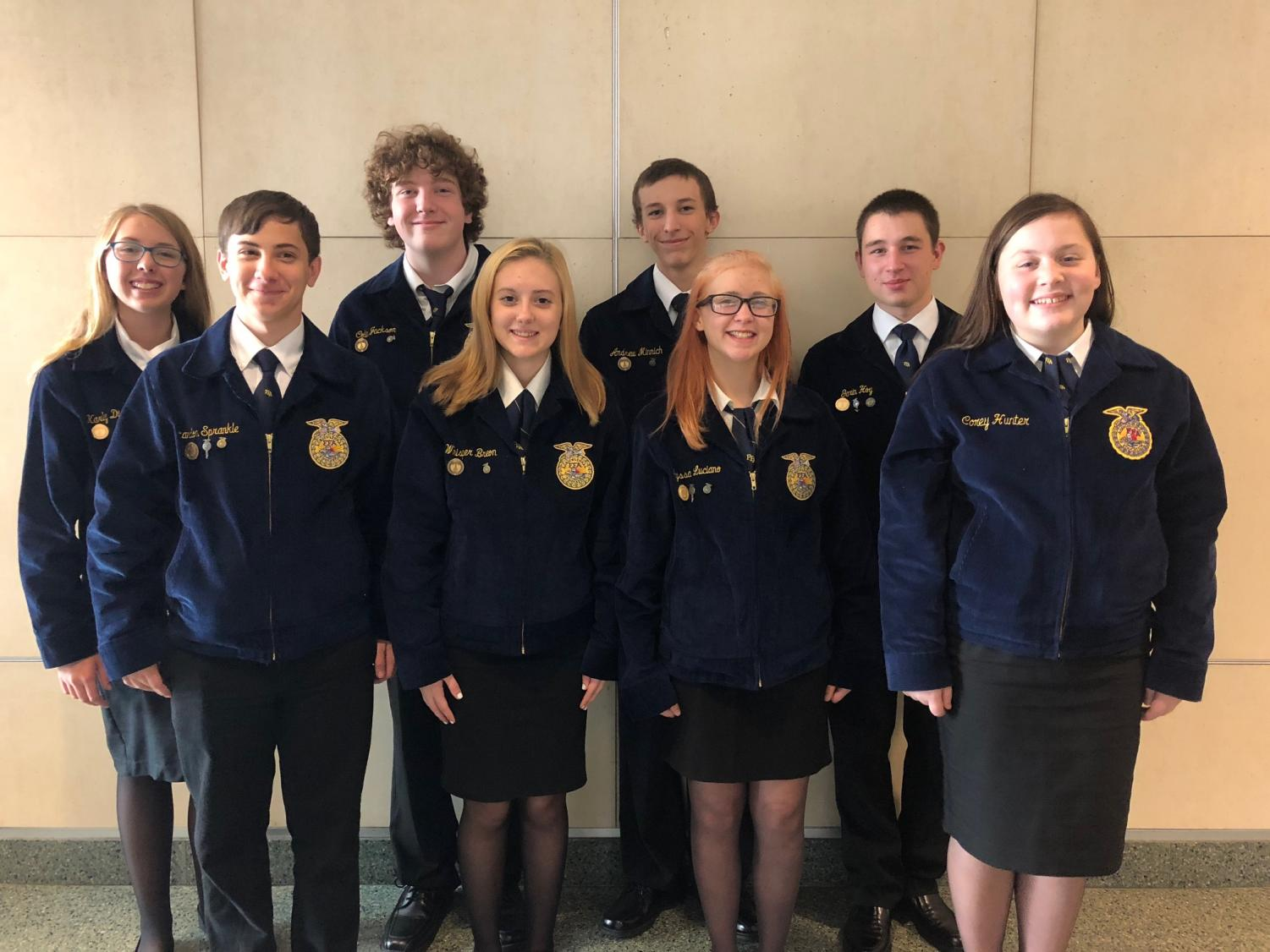 Garin Hoy, Karly Diebold, Alyssa Luciano, Grace Peterson, Brandon Sprankle, Andrew Minnich, Colin Jackson, and Whisper Breon represented the Tyrone Area FFA chapter.