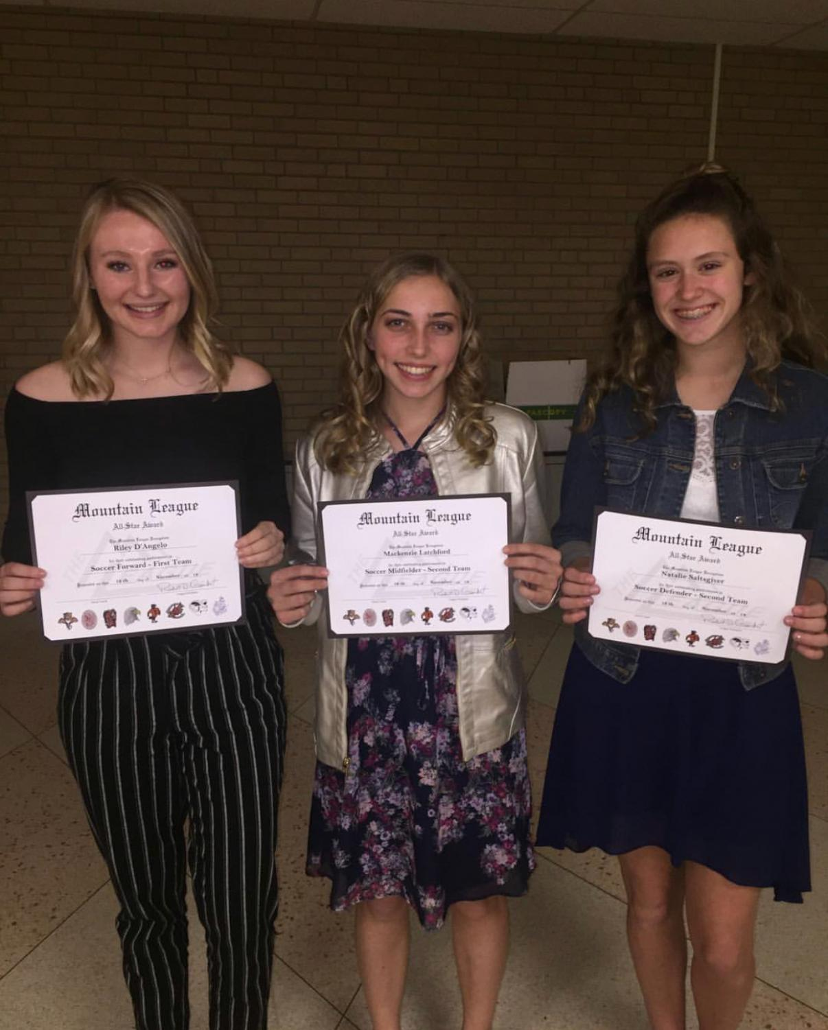 Mountain League All Stars Riley D'Angelo, Makenzie Latchford and  and Natalie Saltsgiver.