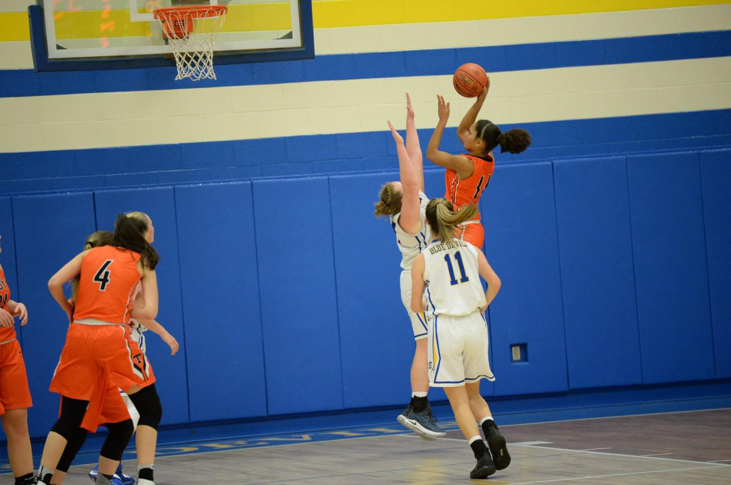Freshman Jadia Parker led the Lady Eagles with 9 points and 12 rebounds in a close loss to Bellwood in the Kiwanis Tournament Championship game over Christmas break.