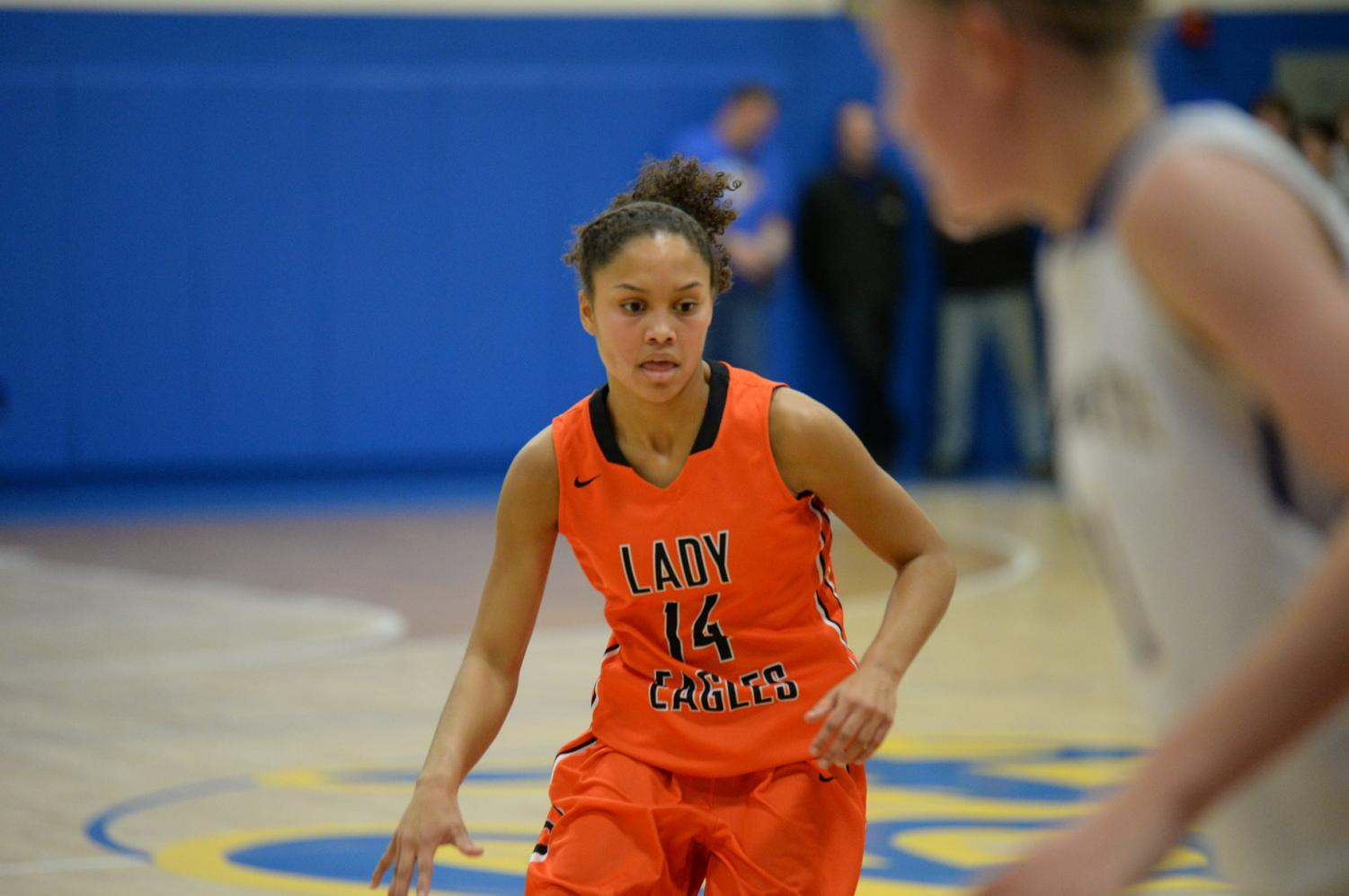 Freshman Jaida Parker (pictured) and Stephanie Ramsey led the Lady Eagles with 14 points each vs. Huntingdon on 12/26/19. (file photo)
