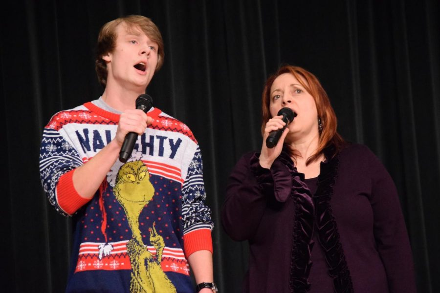 Junior Brent McNeel and teacher Mrs. Suzy Burket brought down the house with their amazing duet.
