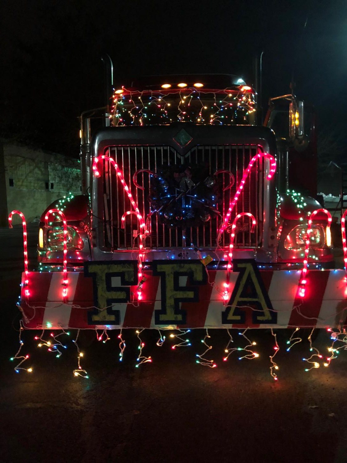 The front of the Tyrone FFA Tyrone Christmas parade float