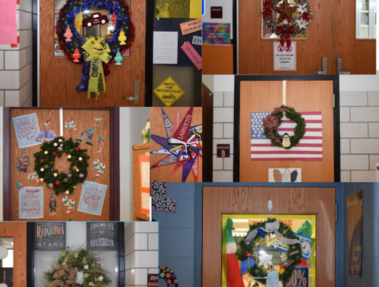 Just+a+few+of+the+wreathes+decorating+the+doors+of+TAHS.++Voting+for+the+best+wreath+will+be+open+until+9%3A00+am+on+December+21.