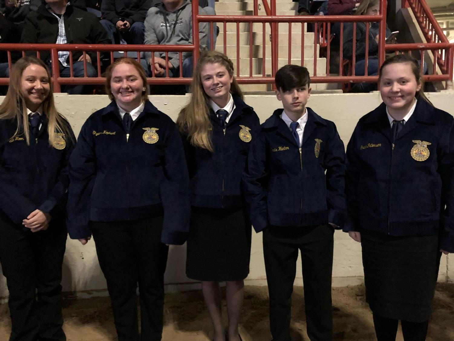 All five of the recipients to receive their FFA jackets.