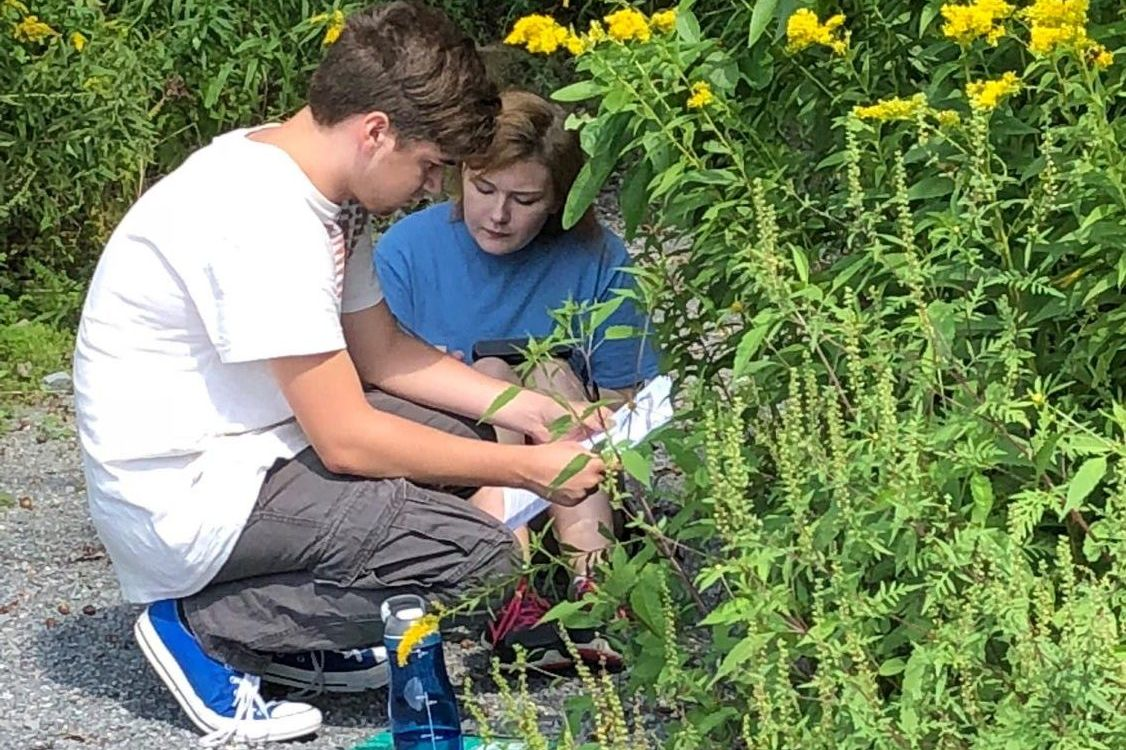 Junior Breckin Peale and senior Allison Miller in the field doing experiments for an ag project.