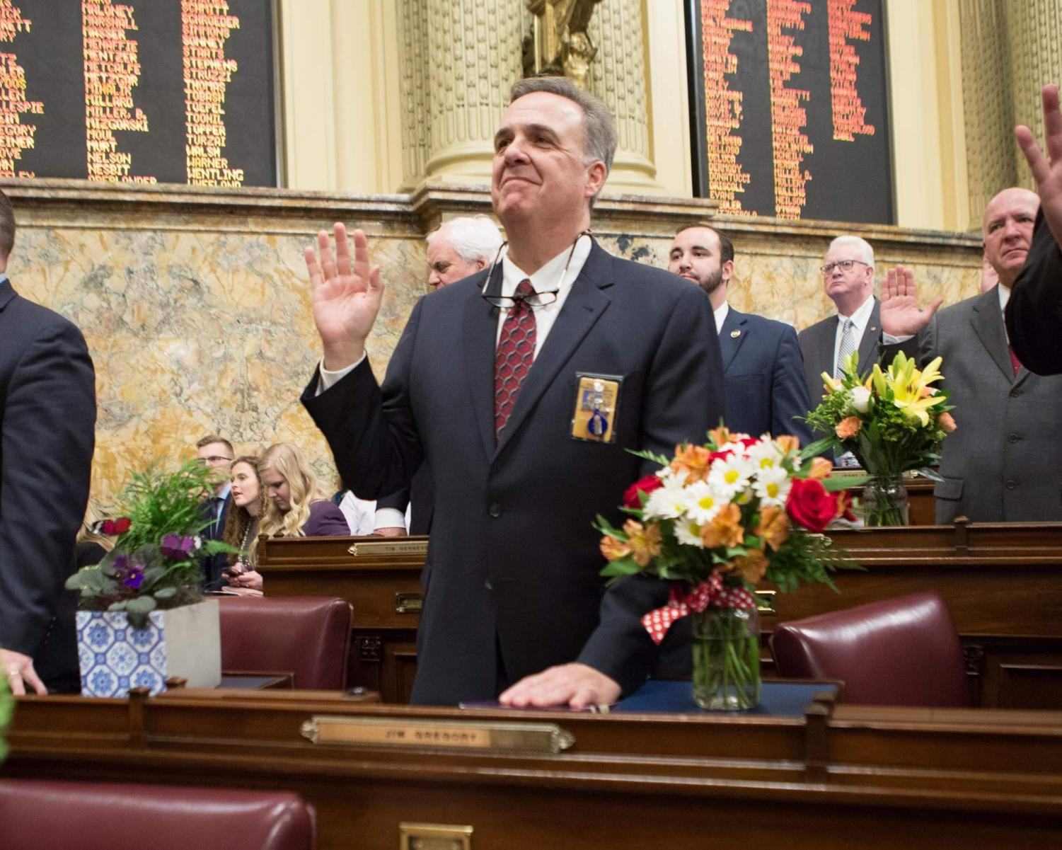 Jim Gregory taking the Oath of Office at the State Capitol on January 1st