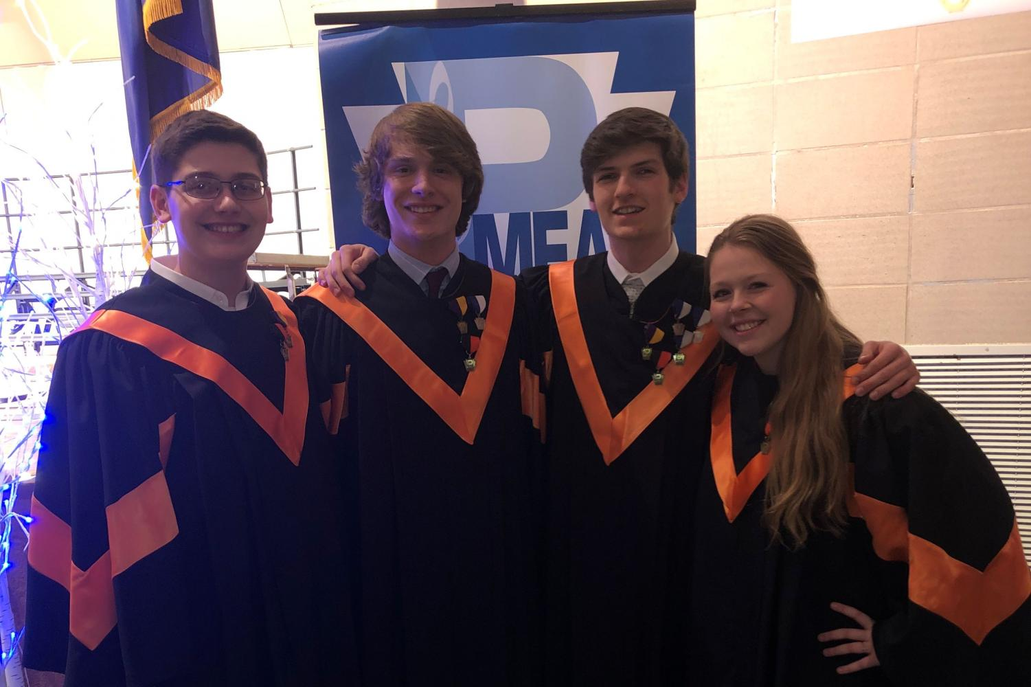 Four TAHS students who are moving on to Regional Chorus. Left to right: Tyler Beckwith, Brent McNeel, Ethan White, Lindsey Walk.