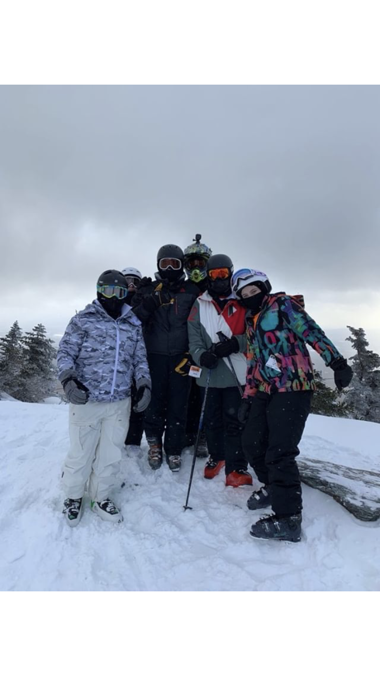 TAHS Ski Club members Trevor Fink, Michael Stoner. Cody Harpster, Luke Brenneman and  Reagan Wood at Smuggler's Notch in Vermont.