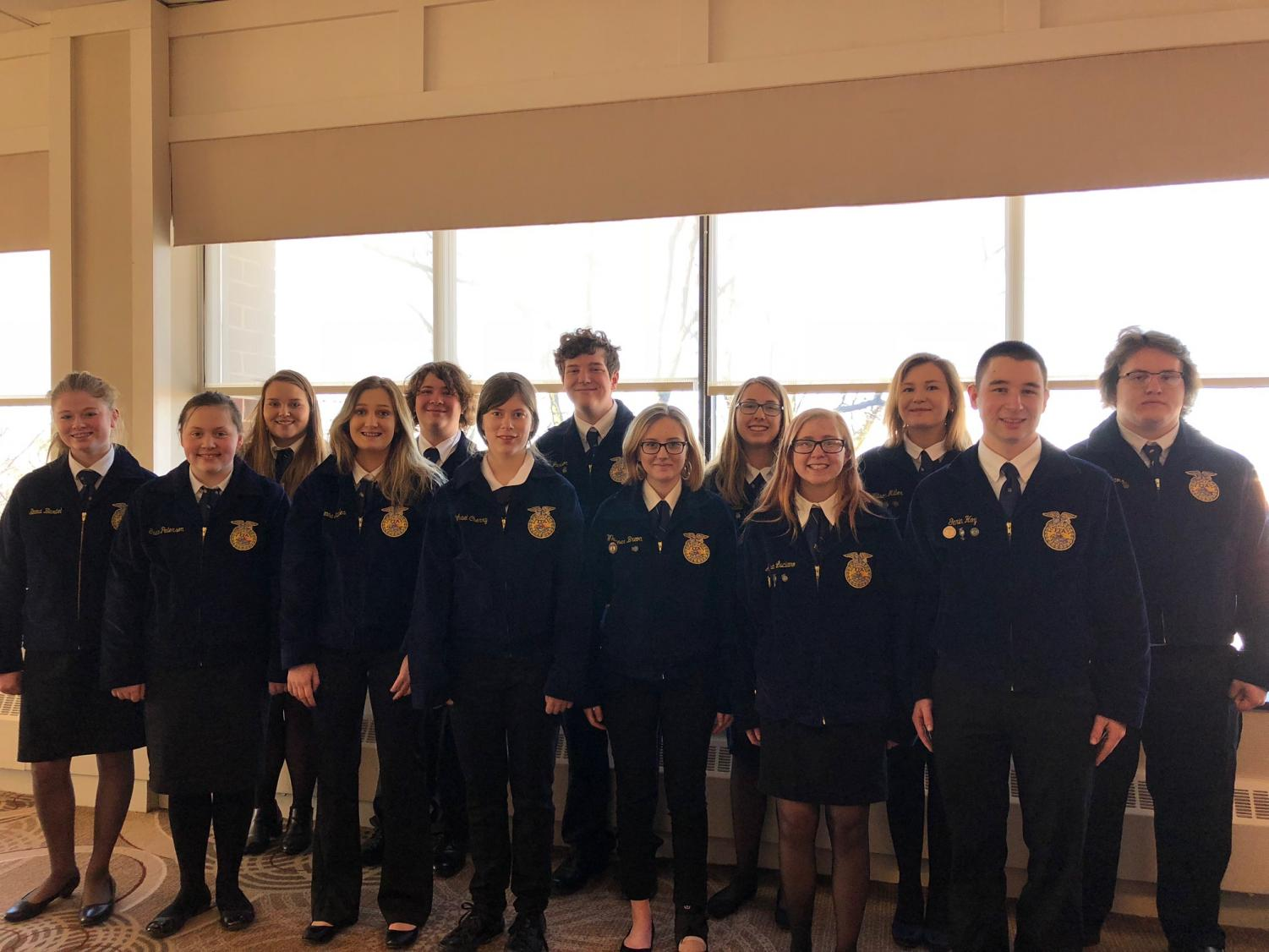 Tyrone Area FFA members who attended the 20th ACES event in Harrisburg on Feb. 9-10. Left to right, back row - Emma Bartel, McKenna Chronister, Noah Frantz, Colin Jackson, Karly Diebold, Allison Miller, Guy Williams; front row - Grace Peterson, McKenna Yaudes, Olivia Beck, Whisper Breon, Alyssa Luciano, and Garin Hoy