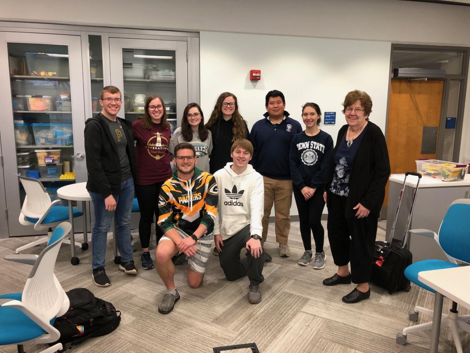 Students from the math education program at PSU University Park were guests in TAHS math classes. Front Row:  Caleb Marasco, Austin Perkosky Back Row:  Bailey Messelman, Jess Heckler, Kelsey Morris, Spenser Bevins, Anthony Zhang, Laryssa Tricou, Dr. Heid Missing from photo:  Mathew Black