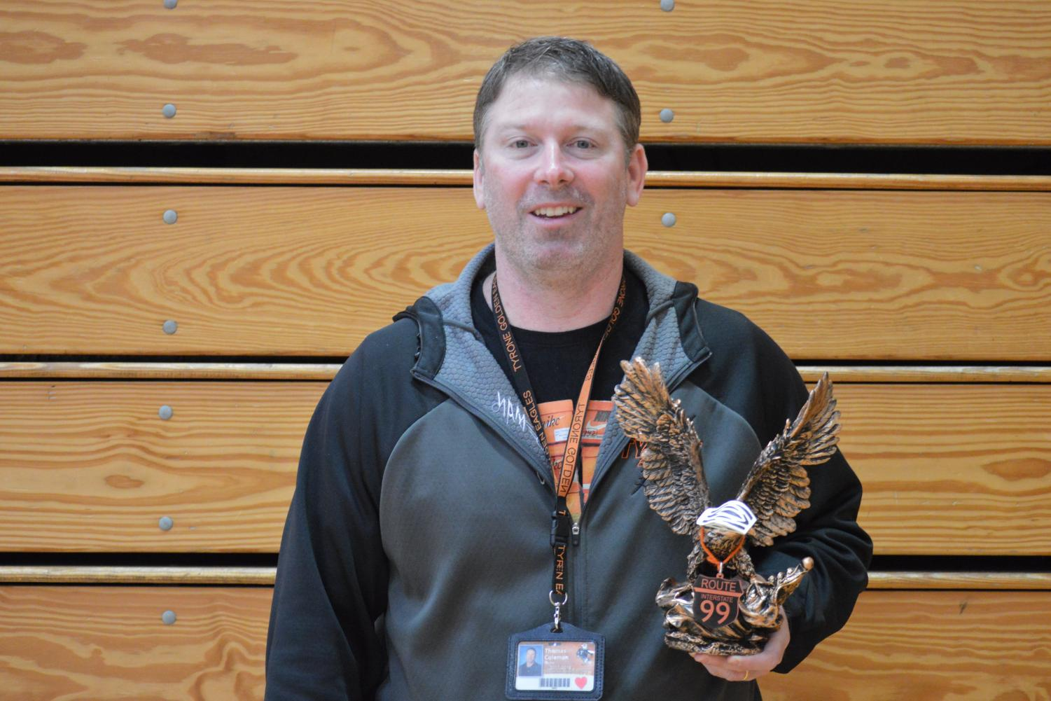 Phys Ed  Teacher Mr. Tommy Coleman is the Be Golden Teacher of the Week.