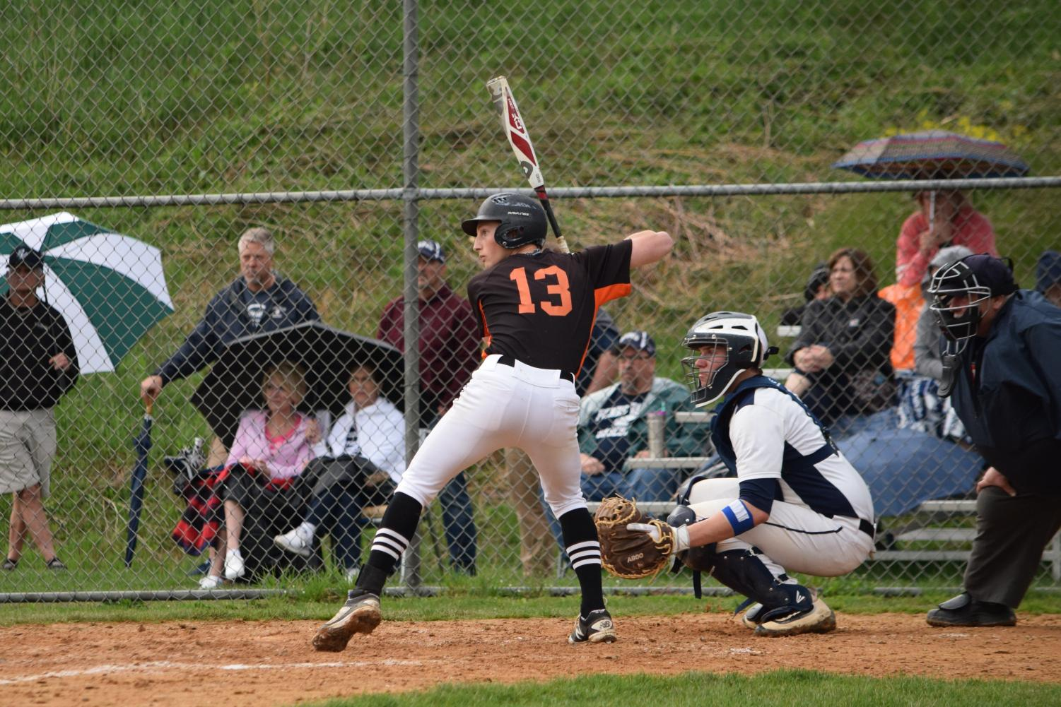Andrew Pearson batting against Penns Valley on senior night