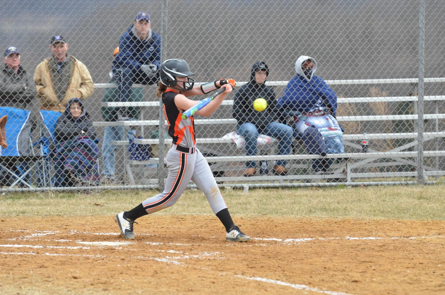 Maci Brodzina at bat for the Lady Eagles