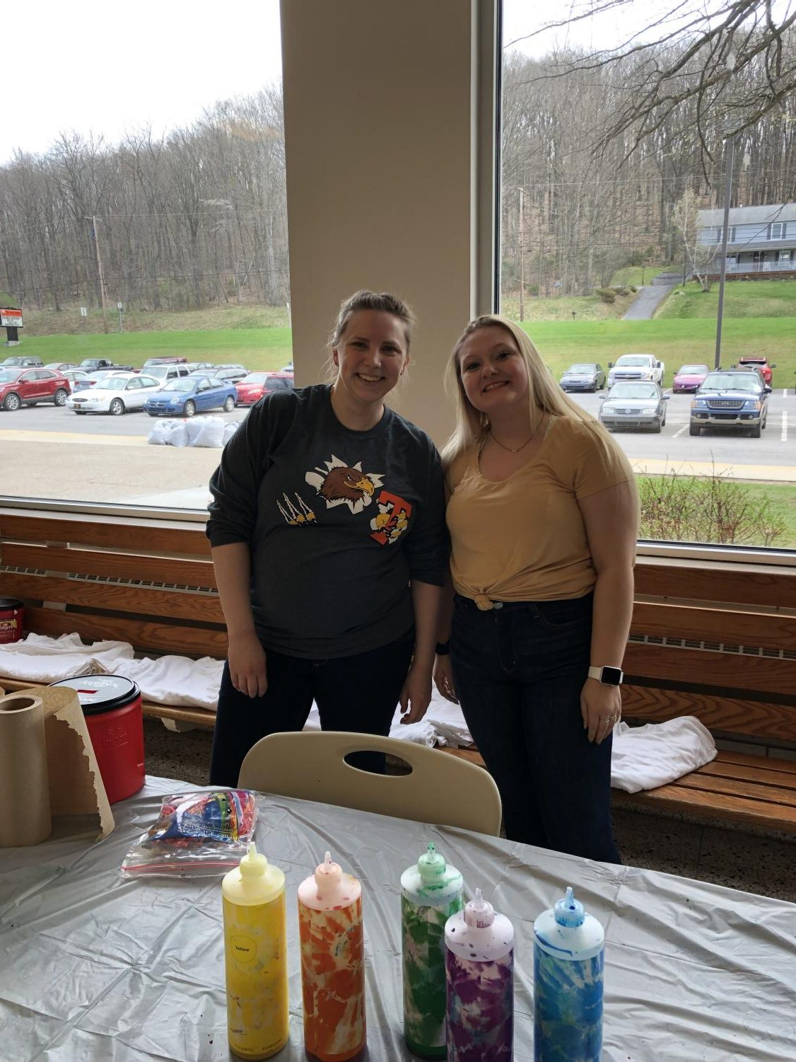Guidance Department intern Mrs. Katerina Grigorian and senior Madison Moser both helped to make the tie-dye shirts during Spring Fling.