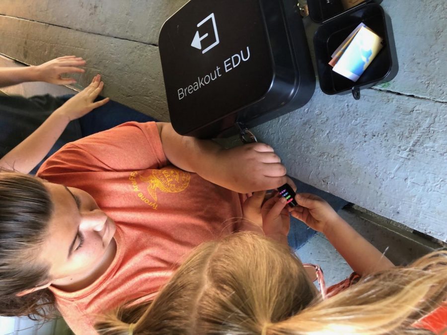 Students solved clues and then put the numbers, letters, or directions into special locks on the Breakout Edu Boxes.  Kiara Rhoades assisted with one of the three Habitat Breakout locations.