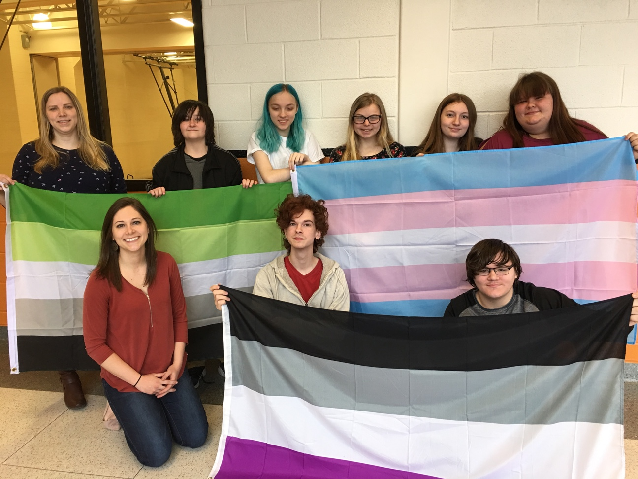 Some of the members of the TAMS-HS LBGT+ Support Group. Front left to right: Ms. Mazurak, Lance Hockenberry, Thad Woomer Back left to right : Guidance Department intern Ms. Katrina Grigoryan, Landon Gill, Eddie Fessler-Laporte, Megan Rhodes, Meredith Carper, Shay Shawley.