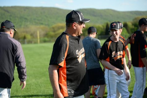 Head Baseball Coach Kevin Sollener, seen here celebrating last year
